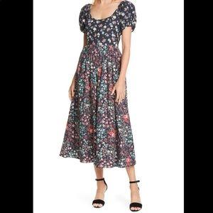 LoveShackFancy Lais Floral Puff Sleeve Boho Dress
